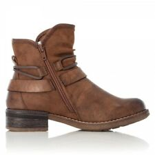 Rieker 94689-22 Ladies Womens Autumn Winter Casual Side Zip Ankle Boots Brown