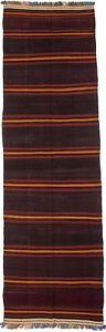 Striped Pattern 4'6X15 Multicolored Area Runner Rug Wool Oriental Carpet