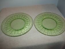 VINTAGE - VASELINE GLASS - BLOCK OPTIC PATTERN - (2) SALAD PLATES