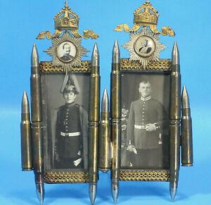 German WWI Military Trench Art 2-PHOTO FRAME Bullet Pickelhaube Crown Wilhelm II