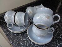 DENBY BLUE DAWN CUPS AND SAUCERS  X 6 - UNUSED