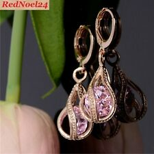 FINE 9ct GOLD PLATED BIJOUTIERE TWISTED EARRINGS/PINK TOPAZ STONES