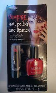NIP Vampire Red Nail Polish & Lipstick Set Halloween Make-up