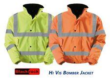 Blackrock Hi Vis Bomber Jacket Fleece Quilt Lining Storm Flap Collar Warm Wear