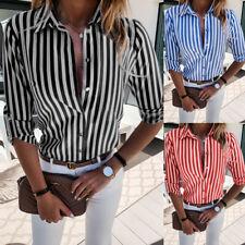 Femme Chemisier T-Shirt Rayures Verticales Chemise Chic Col en V Blouse Tunique