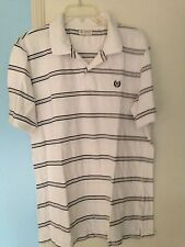 Men's Chaps Black, Grey and White Striped Short Sleeve Polo Shirt in Size Medium