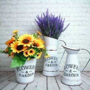 Vintage Farmhouse Decorative Pitcher Vase Metal Rustic White Flower Jug Home