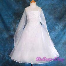 Rhinestones White Wedding Flower Girl Pageant Party Dress & Shawl Size 8-9 FG129