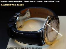 QUALITY DEPLOYMENT BLACK LEATHER STRAP TO FIT  RAYMOND WEIL TANGO MEN 18MM