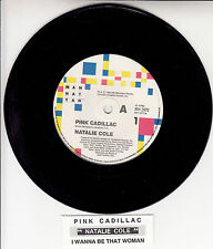 "NATALIE COLE  Pink Cadillac 7"" 45 vinyl record + juke box title strip"