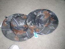Deluxe Mens Solid Green with Brown Leaf Camouflage Hard Wood Boonie Safari Hat