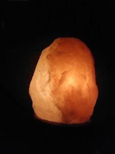 Himalayan Crystal Rock Salt Lamp Natural Shape with Wood Base, Wire & Bulb