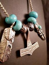 Silver Viking Thor's Hammer Raven Necklace,Feathers Turquoise Southwest Street