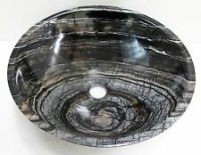 Solid Stone MARBLE Counter Top Basin Vanity Bowl Grey 420 x 140mm Vessel SINK