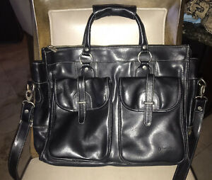 Franklin Covey black leather laptop briefcase tote bag