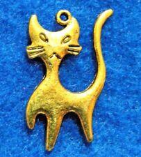 10Pcs. Tibetan Antique Gold CAT 2-Sided Charms Pendants Earring Drops C14