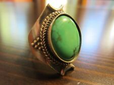 925 Sterling Silver Signed Unique Navajo Style VTG HUGE Turquoise Ring SZ 8 -11g