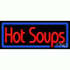 "New ""Hot Soups"" 32x13 Border Neon Sign w/Custom Options 11424"