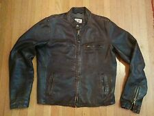 EZRA FITCH LEATHER CAFE RACER MOTORCYCLE JACKET XL L abercrombie