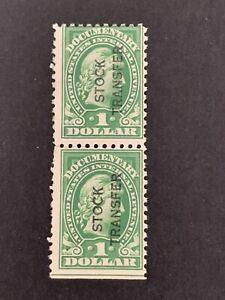 S9/108 US Stamp Revenue BOB 1862 RD30 $1 Perf 10 UNHNG V. Beautiful Fresh Pair