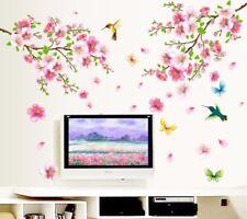 Romantic Decoration Bedroom Wall Stickers Pink Art Blossom Flowers Sakura Decals