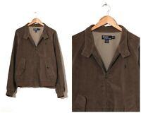 Vintage Mens POLO RALPH LAUREN Corduroy Harrington Jacket Brown Size XL