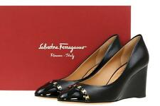 NEW SALVATORE FERRAGAMO BLACK  LEATHER LOGO CHAIN WEDGE PLATFORM SHOES 10 C