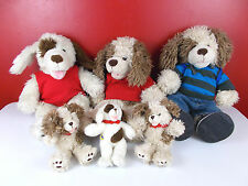Build a Bear Dog Family Lot 3 Full Size and 3 Babies / Small Fry w/ Clothes