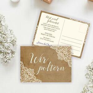 """10 """"Wir poltern"""" Karten PERSONALISIERT - Polterabend Hochzeit Vintage Einladung"""