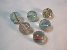 RIBBON SWIRL 6 GLASS VINTAGE MARBLES     T*