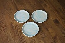 Fulcher Light Blue and White Clay Pottery Plates Cigarette Trays - Lot of 3