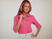 *sz S* Chaps Ralph Lauren 100% Linen Top Gold Buttons Roll-Tab Blouse Shirt PINK