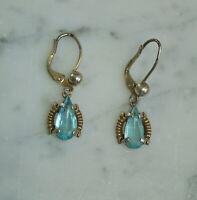 Antike Ohrringe mit Schmuckstein, Silber vergoldet  (# 12264)