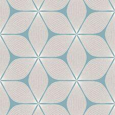 Vibration Silver Glitter Duck Egg Retro Flower Wallpaper by Coloroll M1023