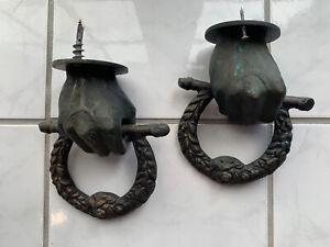 Set of Two Unique Cast Iron Bronzed Hand Fist Door Knocker