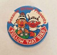 Vintage Sesame Street Presents Follow that Bird - Aviator Ernie & Bert Pinback