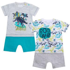 Baby Boys Dino Print Short Top Romper Sleepsuit Cotton Blend Dinosaur Newborn