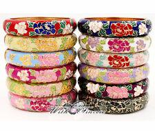 Wholesale12Pcs Chinese Handmade peony floral Luxurious Cloisonne Enamel Bracelet