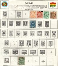 Bolivia, collection of 46 stamps on 7 illustrated album pages.