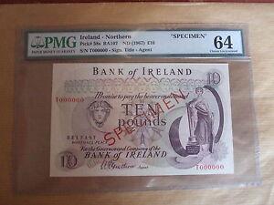 BANK  OF  IRELAND £10 SPECIMEN  NOTE, 1967. UNCIRCULATED.