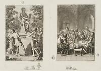 """CHODOWIECKI (1726-1801). Tanz um Apoll & """"Das Weingericht""""; Druckgraphik 1"""