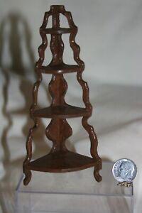 Miniature Dollhouse Vintage Brown Wood Curio Corner What Not Shelf 1:12 NR
