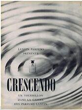 PUBLICITE ADVERTISING 115  1961  LANVIN parfum CRESCENDO