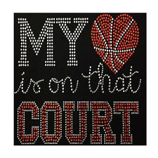 Basketball My Heart Is On That Court Bling Fashion Ladies Rhinestone T-shirts