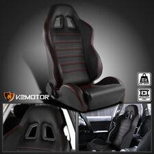 [Passenger Side]JDM PVC Leather BLACK Racing Seat w/Red Stitch Stripe Right Side