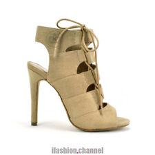 Women Open Toe Faux Suede Zipper Lace up High Heel Sandal Oat Beige Size # 9