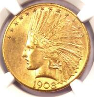 1908-D Indian Gold Eagle $10 Coin, Motto Variety - Certified NGC MS61 (UNC BU)