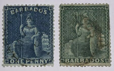 Travelstamps: c.1860 / 1870's  Barbados West Indies Blue 1c, Green 1/2d Used Ng