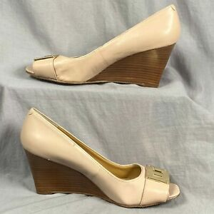 "Nine West Leather Wedged 3"" Heel Women's Size 7.5 Shoes Peep Toe Slip On Buckle"