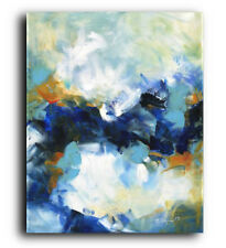Large Blue ORIGINAL PAINTING Abstract Modern Contemporary Acrylic Canvas Gift
